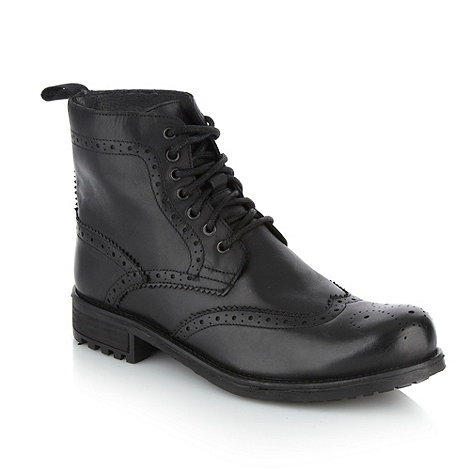 Red Herring - Black brogue trimmed leather ankle boots