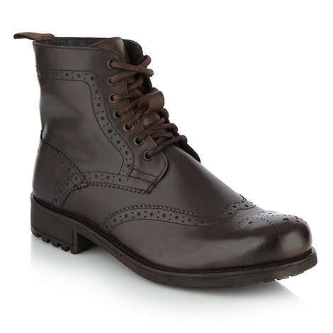 Red Herring - Brown brogue trimmed leather ankle boots
