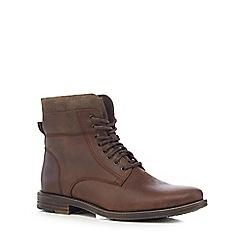 Mantaray - Dark brown lace up military boots