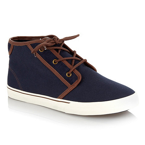 Red Herring - Navy corduroy trimmed high top shoes