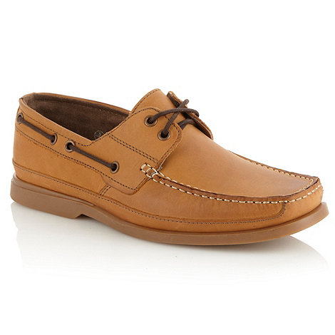 Mantaray - Tan contrasting laced leather boat shoes