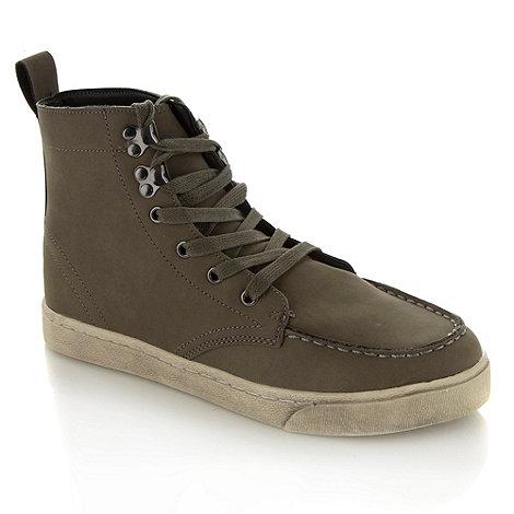 FFP - Grey faux leather apron lace up front boots