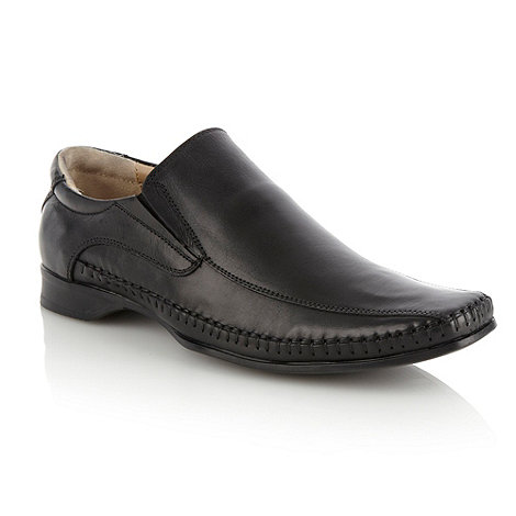 Thomas Nash - Black curved square toed slip-on shoes