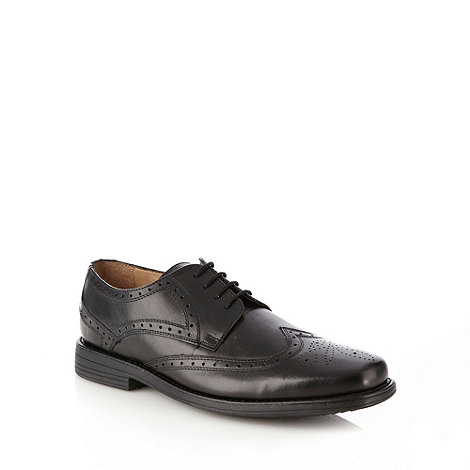 Henley Comfort - Wide fit black leather brogue shoes