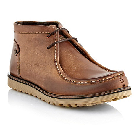 Base London - Tan apron stitched high top shoes