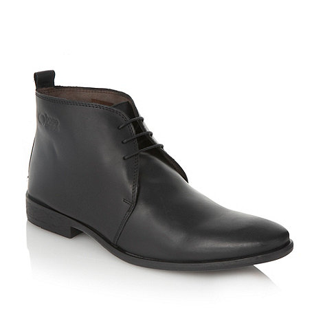 Base London - Black logo debossed ankle boots
