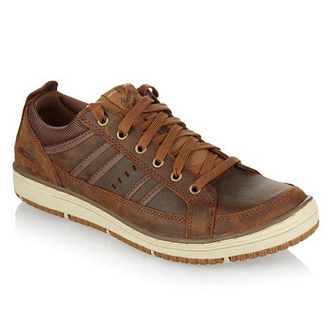 Skechers - Brown leather +Wezen+ trainers