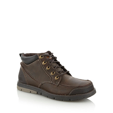 Skechers - Brown coated leather ankle boots