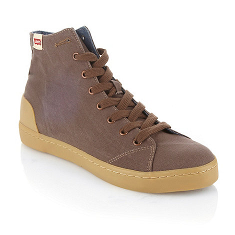 Levi+s - Levis dark brown canvas high top trainers