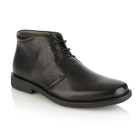 Steptronic - Wide fit black leather high top shoes