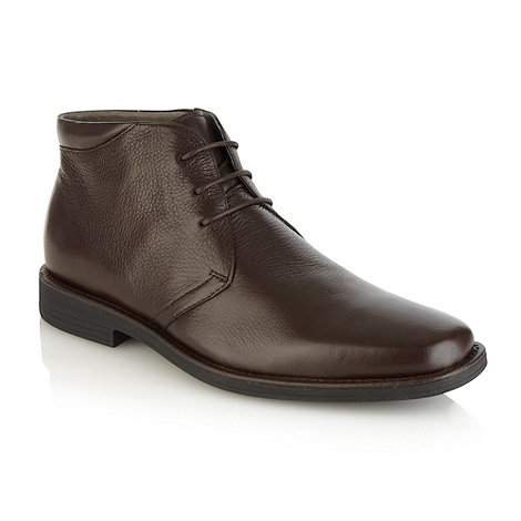 Steptronic - Dark brown leather high top shoes
