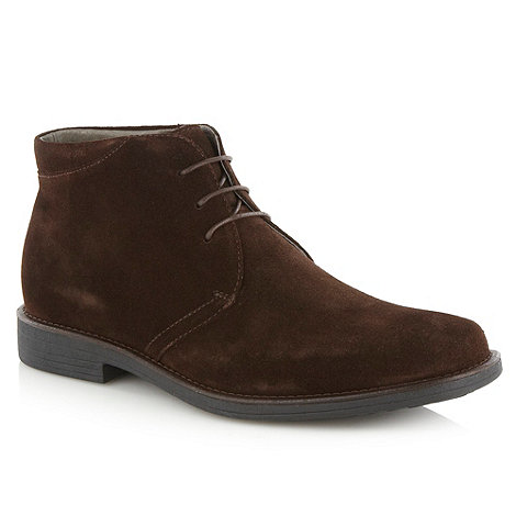 Steptronic - Wide fit dark brown suede high top shoes