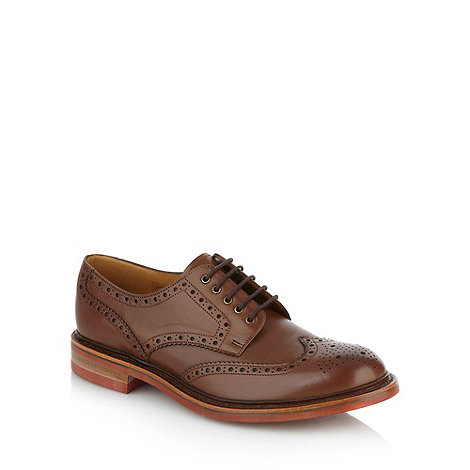 Loake - Wide fit brown striped soled brogues