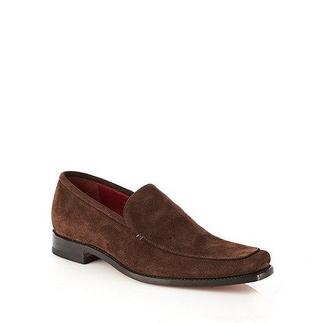 Loake - Dark brown +Scott+ suede slip on shoes