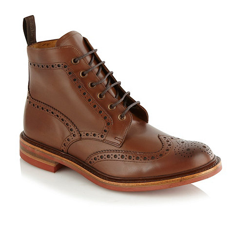 Loake - Wide fit brown +Wharfdale+ high top brogues