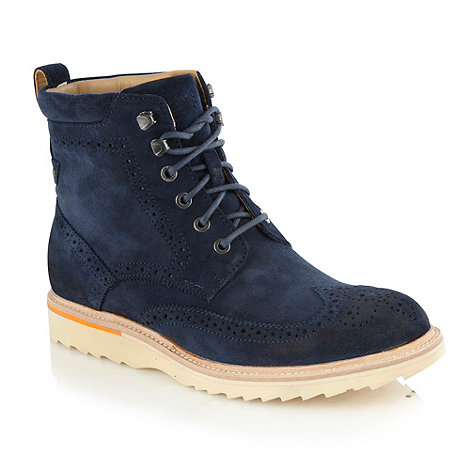 Rockport - Navy +Union+ suede high top brogues