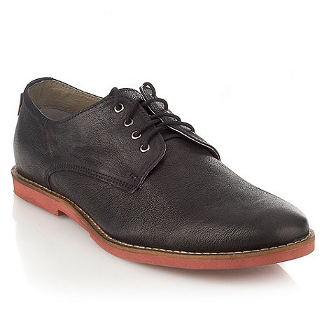 Frank Wright - Black contrasting soles leather shoes