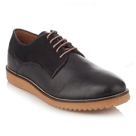 Frank Wright - Black panelled leather lace up shoes