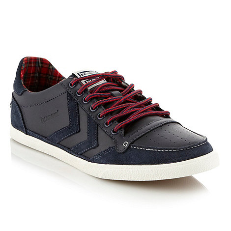 Hummel - Navy leather suede panelled trainers