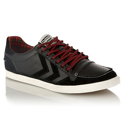Hummel - Black leather suede panelled trainers