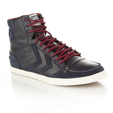 Hummel - Navy striped laced leather high top trainers