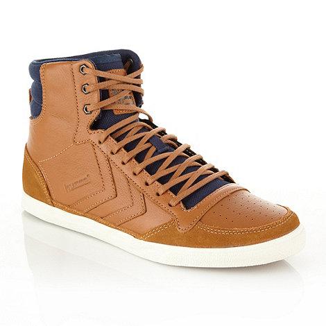 Hummel - Tan herringbone panelled leather high top trainers