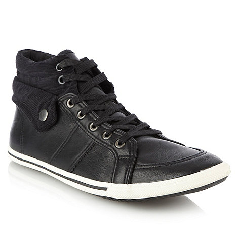Call It Spring - Black corduroy cuffed high top trainers