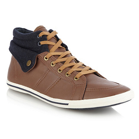 Call It Spring - Tan corduroy cuffed high top trainers