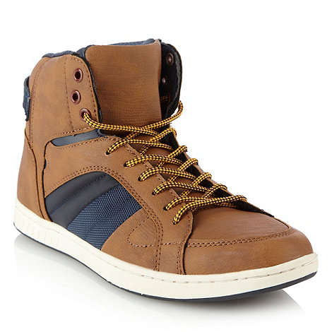 Call It Spring - Tan panelled high top trainers