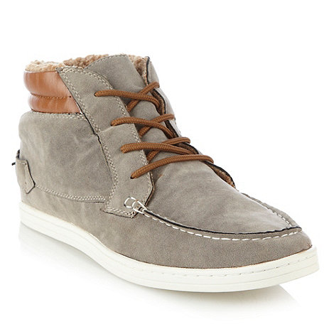 Call It Spring - Taupe faux suede high top shoes