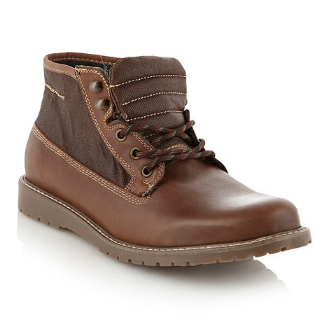 Aldo - Brown canvas panelled high top shoes