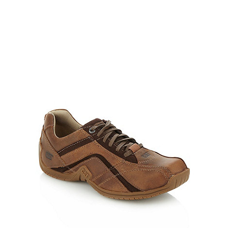 Caterpillar - Brown leather and suede panelled lace up shoes
