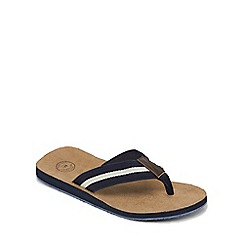 Mantaray - Navy stripe detail flip flops