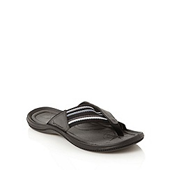 Rider - Black striped canvas toe post flip flops