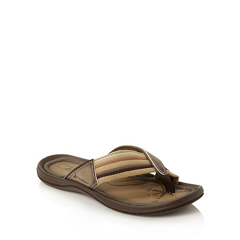 Rider - Taupe striped strapped flip flops