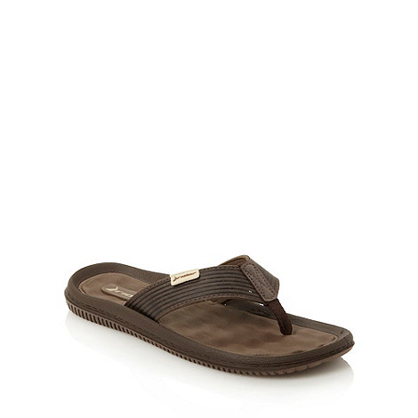 Rider - Brown textured toe post flip flops