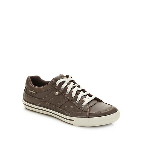 Skechers - Brown +Planfix Kano+ coated leather trainers