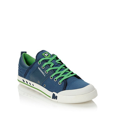 Merrell - Navy leather panelled canvas trainers
