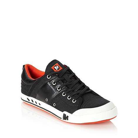 Merrell - Black leather panelled canvas trainers