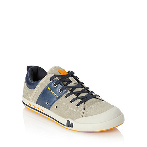 Merrell - Grey leather and canvas trainers