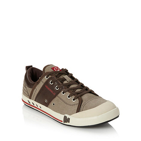 Merrell - Beige leather panelled canvas trainers