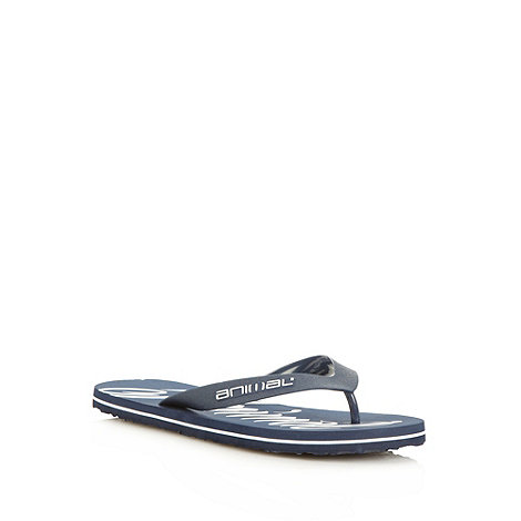 Animal - Navy oversized logo printed flip flops