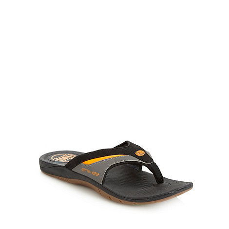 Animal - Black padded strapped flip flops