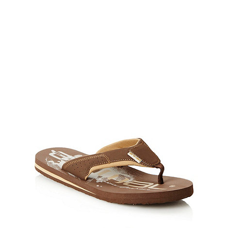 Animal - Brown two tone logo flip flops