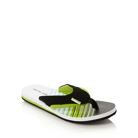 Animal - Lime green linear patterned flip flops