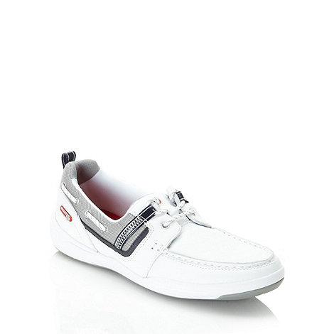 Rockport - White leather panelled boat shoes