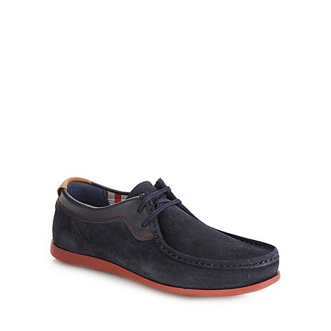 Base London - Navy suede casual boat shoes