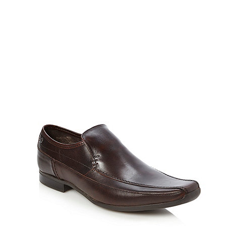 Base London - Brown leather square toed slip on shoes