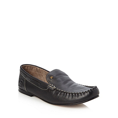 Base London - Black grain leather moccasins