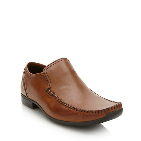 Base London - Tan burnished leather slip on shoes